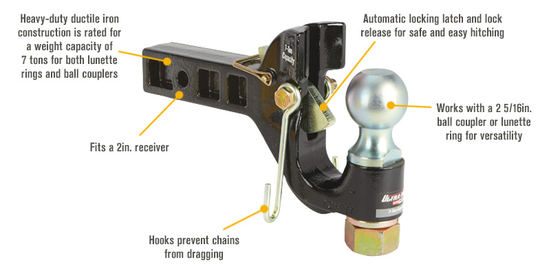 Features for Ultra-Tow XTP Auto-Locking Dual-Purpose Pintle Hitch — 2 5/16in. Ball, 7-Ton Capacity (Lunette), 7-Ton Capacity (Coupler)