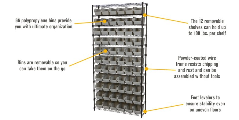 Features for Strongway 12-Tier Wire Shelving Rack with 66 Bins — 39.5in.L x 16in.W x 80.5in.H, Model# NSBFPBK-1718