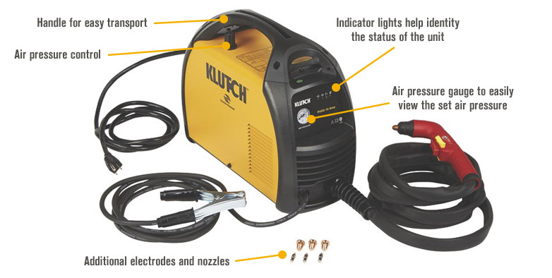 Features for FREE SHIPPING — Klutch P300i Inverter-Powered Plasma Cutter — 120V, 16 Amp