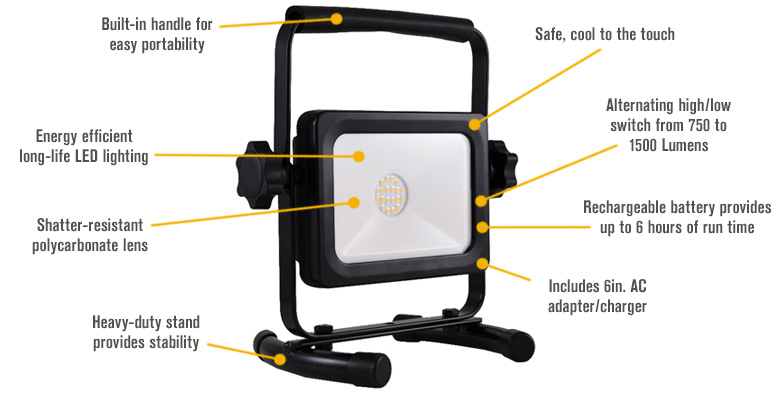 Features for Keystone Portable Rechargeable LED Worklight — 750/1500 Lumens, Model# R1500RC-1