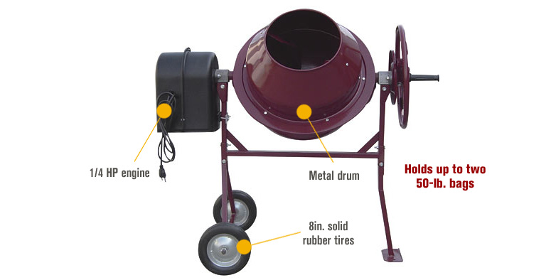 Features for Northern Industrial Mini Electric Cement Mixer – 1.77 Cubic Ft., Model# CM125